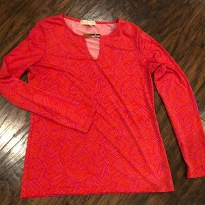 Red & hot pink patterned top from Michael Kors